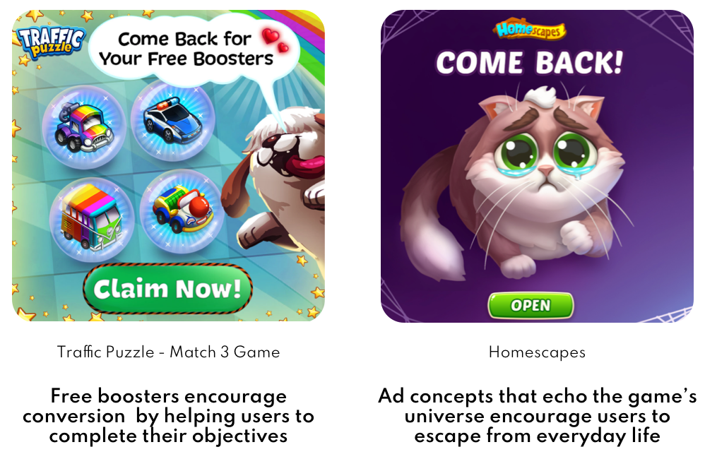 App Retargeting tips Casual and Mid Core Games Ad Set 1